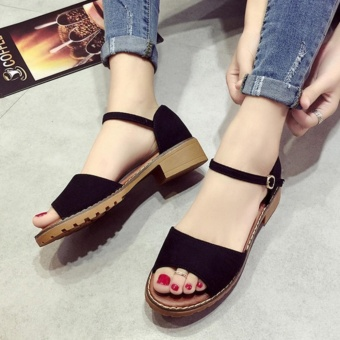 Leyi Ms. Fashion Contracted Pure Color Sandals (Black) - intl - 2