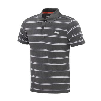 Li Ning apll 055-4-5-1-2 training series quick-drying polo shirt (Dark gray color) (Dark gray color)
