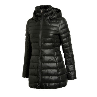 Li Ning aymj 102 series mid-length hooded warm down coat female down jacket (AYMJ102-2 new basic black)