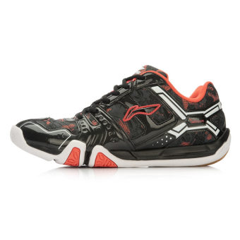Li Ning aytl 067 New style training shoes badminton shoes (Black/coral Hong)