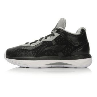 LI-NING official New style cushioning wear and sports shoes basketball shoes (Black/cold gray)