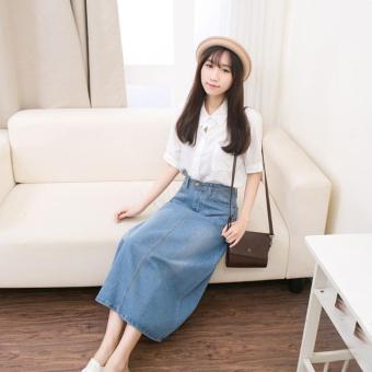 Light Denim Skirting Women Skirts Korean Bust Skirts Big SkirtMidiskirts A-line Midium Dress Skirts Students Casual Jeans - intl - 2