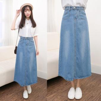 Light Denim Skirting Women Skirts Korean Bust Skirts Big SkirtMidiskirts A-line Midium Dress Skirts Students Casual Jeans - intl - 3