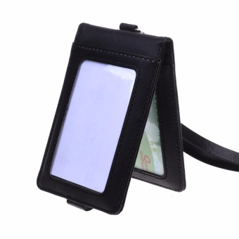 Lightning Power-Folding PU Leather Vertical ID Card Holder with 2ID Window and 3 Card Slots, with PU Neck Strap Band Lanyard(Black)- intl - 4