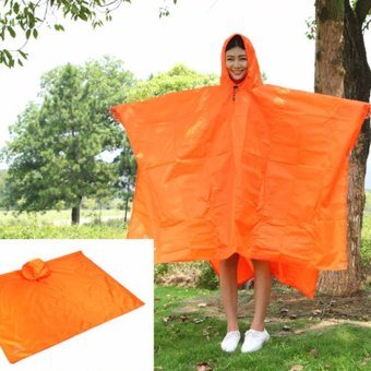Lightweight Raincoat Rain Cape Poncho Backpack Position-Orange -intl