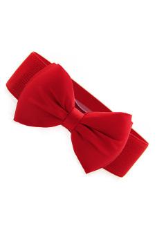 Linemart Bowknot Elastic Wide Belt (Red)