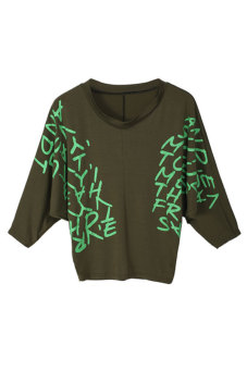 Linemart Dolman Batwing Sleeve Letter Print Top T-Shirt (Green) - picture 2