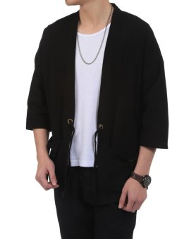 Linemart New Men Casual Open Stitch Front Pockets Drawstring Long Sleeve Solid Loose Coat Kimono ( Black ) - intl - 4