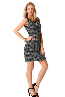 Linemart Sleeveless Plaid Bodycon Package Hip Mini Dress - picture 2