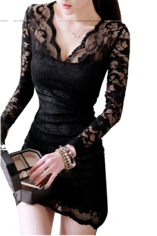 Linemart V-neck Long Sleeve Lace Mini Dress Black