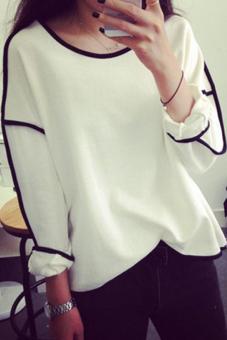 Linemart Women Loose Geometric Design Long Sleeve Tops (White)