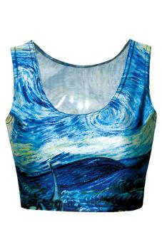 Linemart Women's Stylish Print Short Vest Tank Tops (Sky blue)
