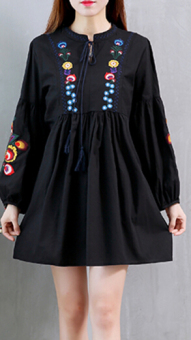 Linen autumn New style dress (Black)