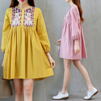 Linen autumn New style dress (Yellow)