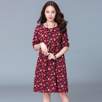 Linen autumn New style floral dress (Blue)