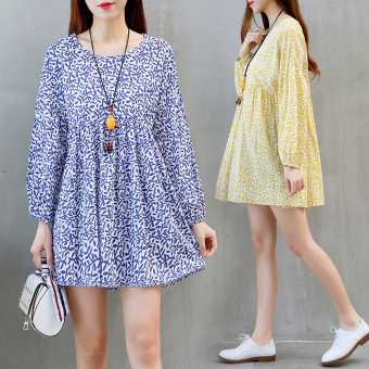 Linen autumn New style loose dress (Yellow)