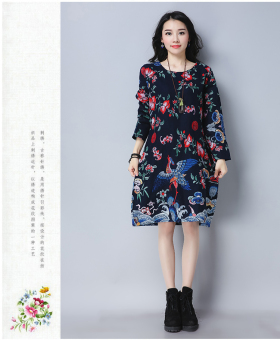 Linen New style loose long-sleeved Print dress (Blue)