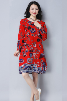 Linen New style loose long-sleeved Print dress (Red)