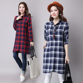 Linen plaid shirt collar loose women's dress (Red)