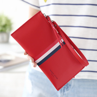 Linjiaxiaofei Korean-style female student contrasting color clutch bag New style wallet (Red)