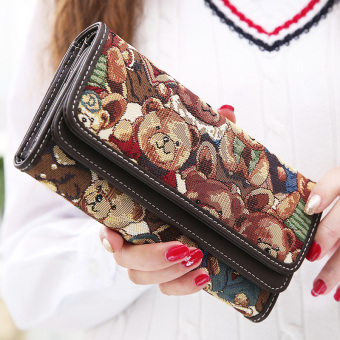 Linjiaxiaofei New style female Japanese and Korean style multi-functional clutch bag women's long wallet (Coffee)