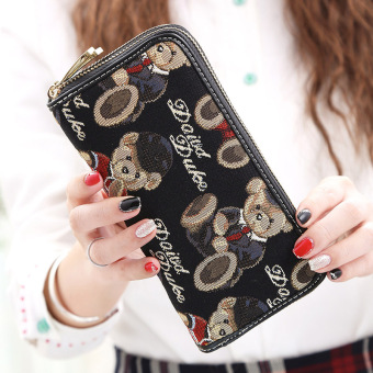 Linjiaxiaofei New style female Japanese and Korean style zip clutch bag wallet (New gentleman black)