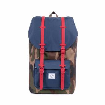 LITTLE AMERICA BACKPACK 25L 100% AUTHENTIC WOODLAND CAMO/NAVY/REDRUBBER