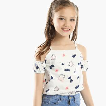 Little Miss Girls Essentials Cold-shoulder Crop Top (White) Price Philippines