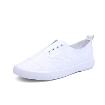 Loafers spring New style foot covering canvas shoes (White)