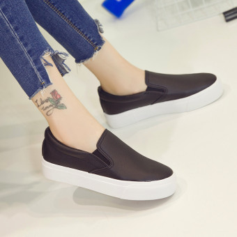 Lok Fu shoes Korean-style autumn New style female casual canvas shoes (Black)