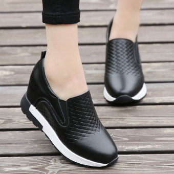 Lok Fu shoes leather autumn New style flat casual shoes ((Sets foot black))