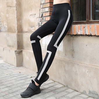 Lolita female yoga was thin and stretch fitness pants running pants (Black gray)