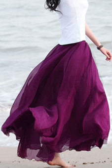 Long Bohemian Maxi Chiffon Skirt (Purple)