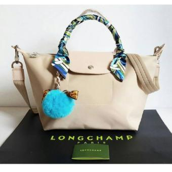 Long-champ Neo Pliage Small Short handle Free Twilly & RodeoCharm Authentic (Beige)