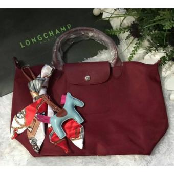 Long-champ Neo Pliage Small Short handle Free Twilly & RodeoCharm Authentic (MAROON)