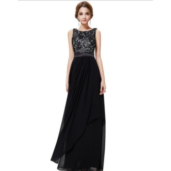 Long Chiffon Bridesmaid Dress V-back Evening Gown Prom Party Dress-Black - intl - 3