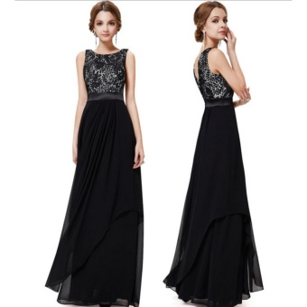 Long Chiffon Bridesmaid Dress V-back Evening Gown Prom Party Dress-Black - intl