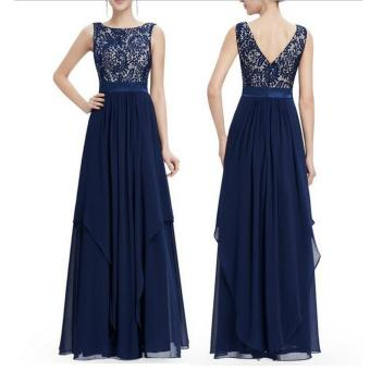 Long Chiffon Bridesmaid Dress V-back Evening Gown Prom Party Dress Dark Blue - intl