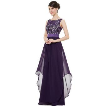 Long Chiffon Bridesmaid Dress V-back Evening Gown Prom Party Dress purple - intl