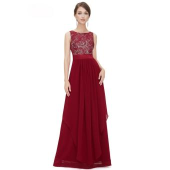 Long Chiffon Bridesmaid Dress V-back Evening Gown Prom Party Dress Red - intl - 2