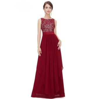 Long Chiffon Bridesmaid Dress V-back Evening Gown Prom Party Dress Red - intl