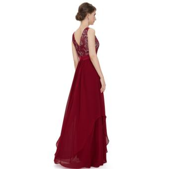 Long Chiffon Bridesmaid Dress V-back Evening Gown Prom Party Dress Red - intl - 5