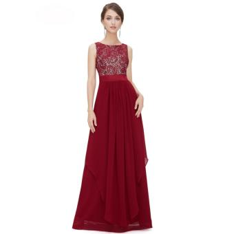 Long Chiffon Bridesmaid Dress V-back Evening Gown Prom Party Dress Red - intl - 3