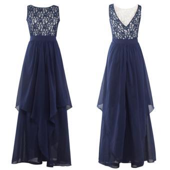 Long Chiffon Bridesmaid Dress V-back Evening Gown Prom Party DressDark Blue - intl - 3