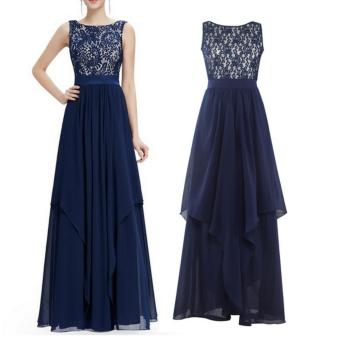 Long Chiffon Bridesmaid Dress V-back Evening Gown Prom Party DressDark Blue - intl