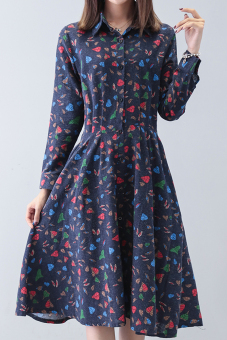 Long section Slim fit Slimming effect loose a word skirt floral dress