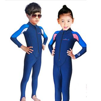 Long Sleeve Sunsuit Boys Sun Protection One Piece Swimsuit UV Protective Rash Guard Swimwear Diving Suit Youth Full Wetsuit Snorkeling For Blue and white - intl