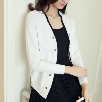 Long-sleeved breasted short jacket knit shirt (White)