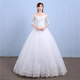 Long Sleeves Women's Wedding Dress Leondo Sexy Off Shoulder LaceAppliques Tulle Edge Lace Bridal Ball Gown - intl