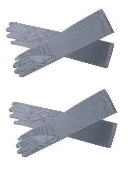 Long Spandex Gloves Set of 2 (White)